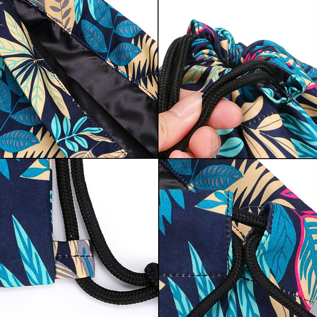 Hipiwe Drawstring Bags for Girls Women Foldable Cinch Tote School Backpacks Travel String Bag Lightweight Gym Sackpack for Hiking Beach Yoga Dancing