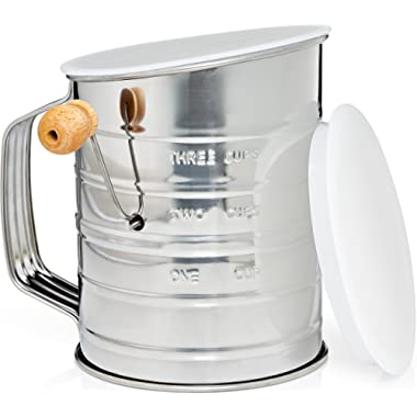 Natizo Stainless Steel 3-Cup Flour Sifter - Lid and Bottom Cover - No More Mess In Your Kitchen