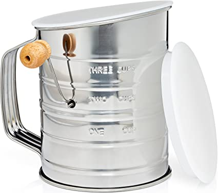 amazon com natizo stainless steel 3 cup flour sifter lid and rh amazon com