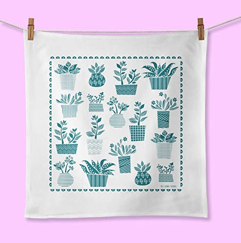Amazon Com Succulent Plant Towel Hand Screen Printed Organic