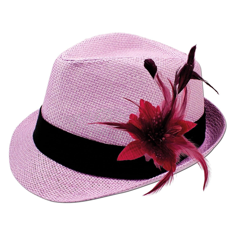 Alpenflüstern Damen Strohhut Trachtenhut rosa mit Feder-Clip ADV03100020 rot