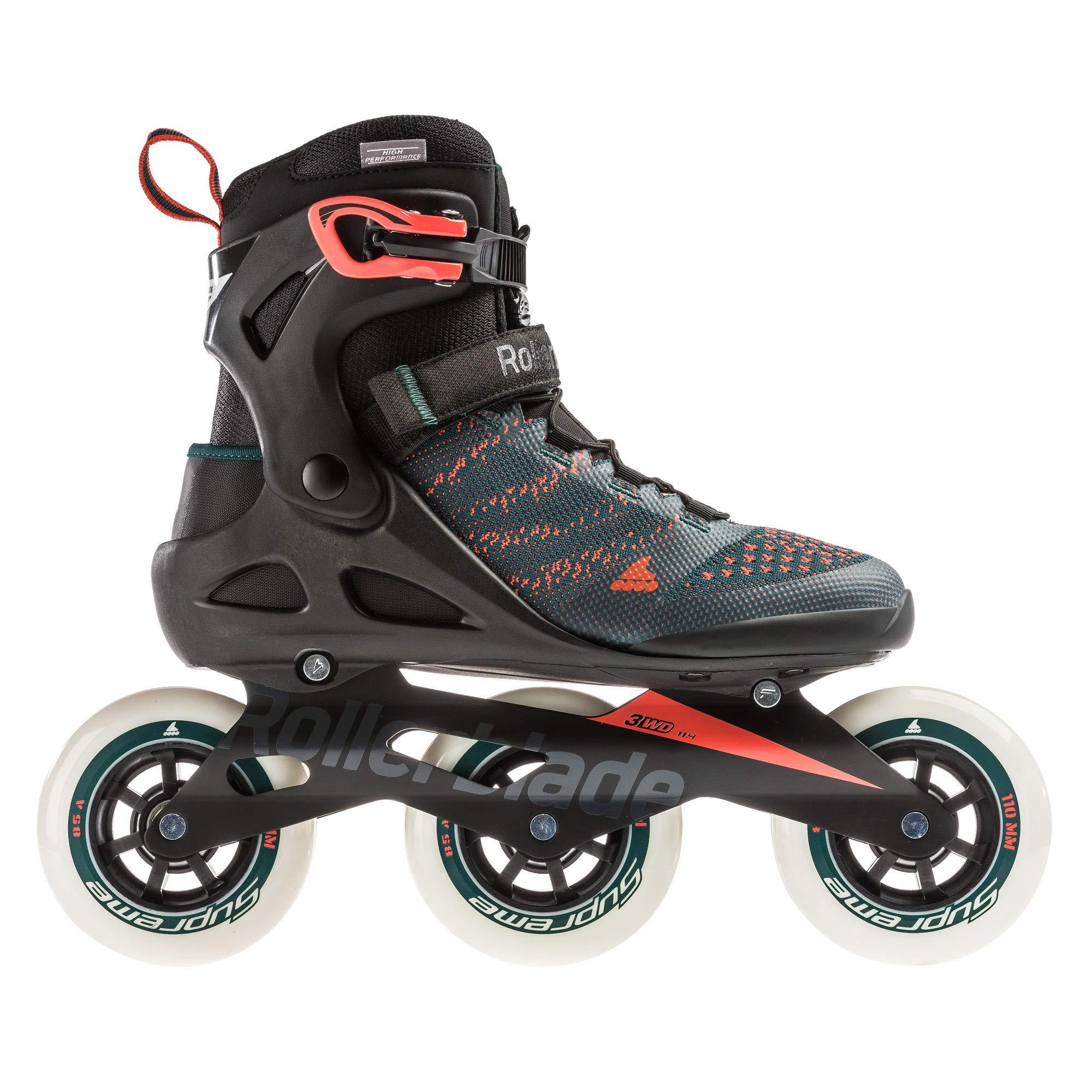 Rollerblade Macroblade 110 3Wd Men's Adult Fitness Inline Skate, Teal Green/Orange Burst, Medium 8
