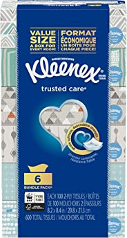 Kleenex Trusted Care Everyday Facial Tissues, 6 Flat Boxes, 100 Tissues per Box (600 Count Total)