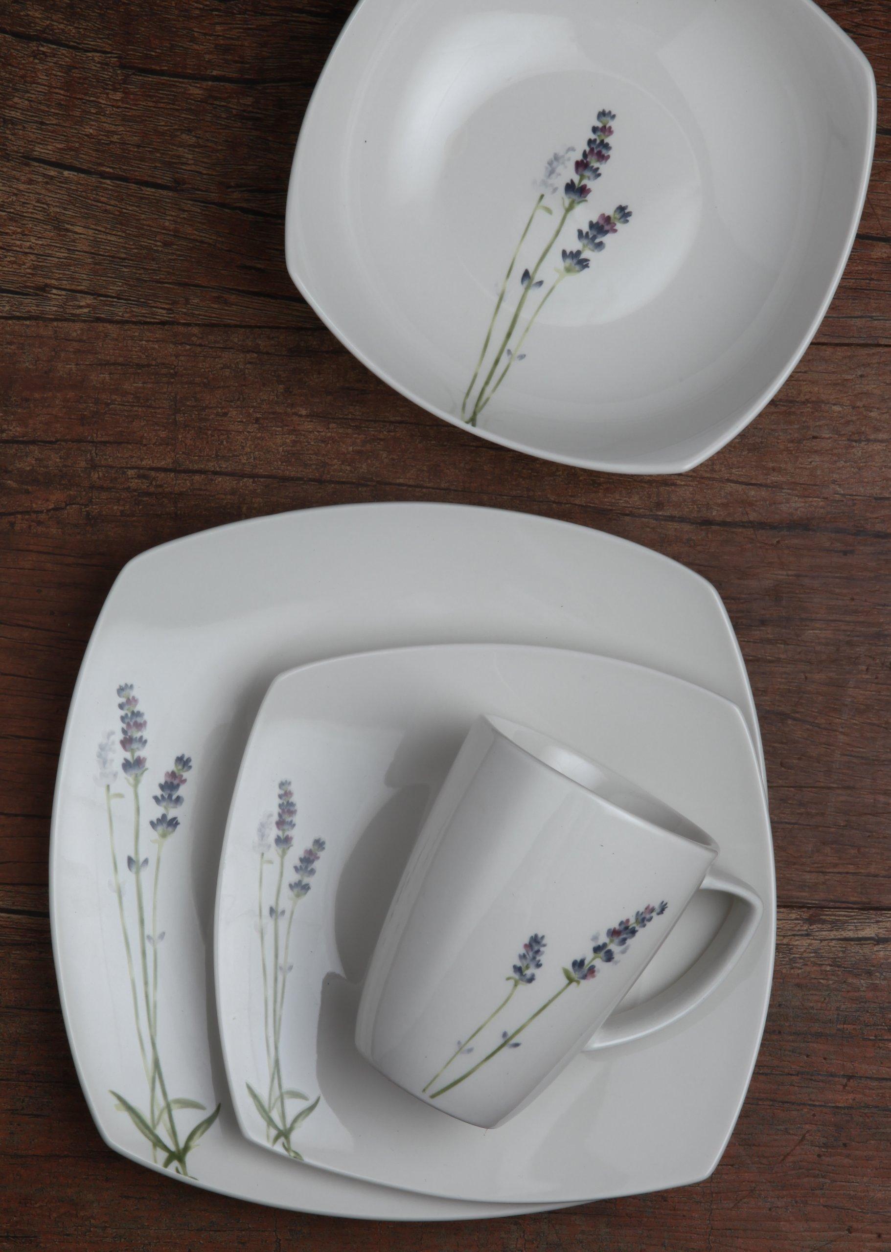 Melange Square 32-Piece Porcelain Dinnerware Set (Lavender) | Service for 8 | Microwave, Dishwasher & Oven Safe | Dinner Plate, Salad Plate, Soup Bowl & Mug (8 Each) by Melange (Image #4)