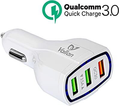 Quick Charge 3.0 Qualcomm Fast Speed Car Charger Dual USB Port Compatible with iPhone//Galaxy//LG//Samsung White