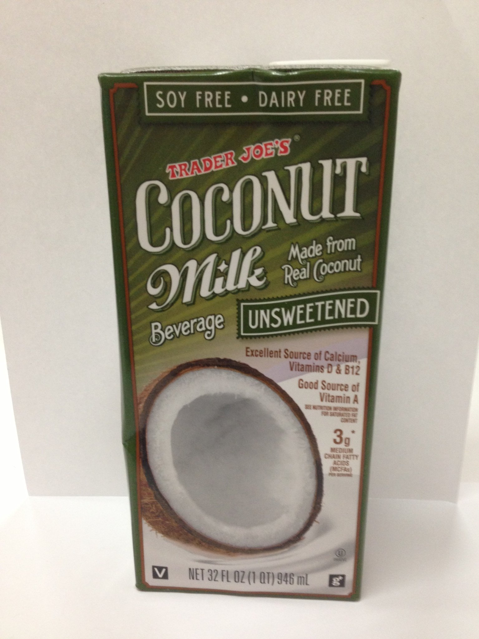 Trader Joe's Coconut Milk Beverage Unsweetened (Pack of 3)