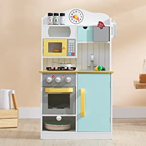 "Teamson Kids - Florence Wooden Play Kitchen with Accessories,21.50"" x 11.63"" x 38.00"", White/Green"