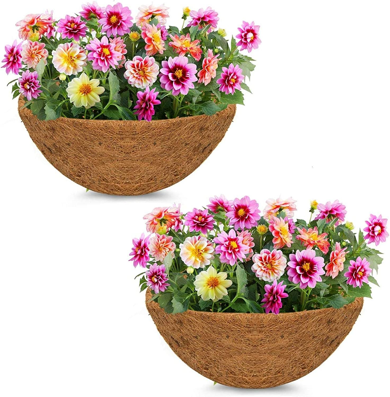 24 Inches Coco Coir Liner, 2PCS Replacement Coco Liner for Hanging Basket, for Hanging Basket Coconut Fiber Planter Inserts Garden Flower Pot(Round)
