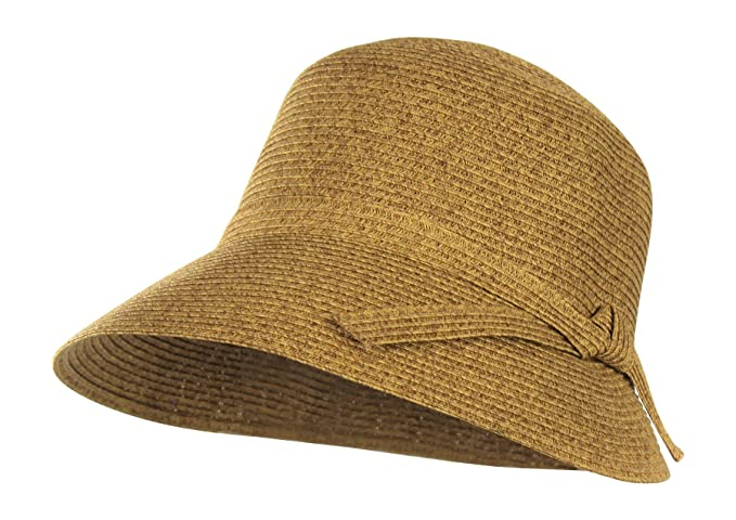 75ac1b3c28edc Image Unavailable. Image not available for. Color  Packable Straw Cloche Sun  Hat w  ...