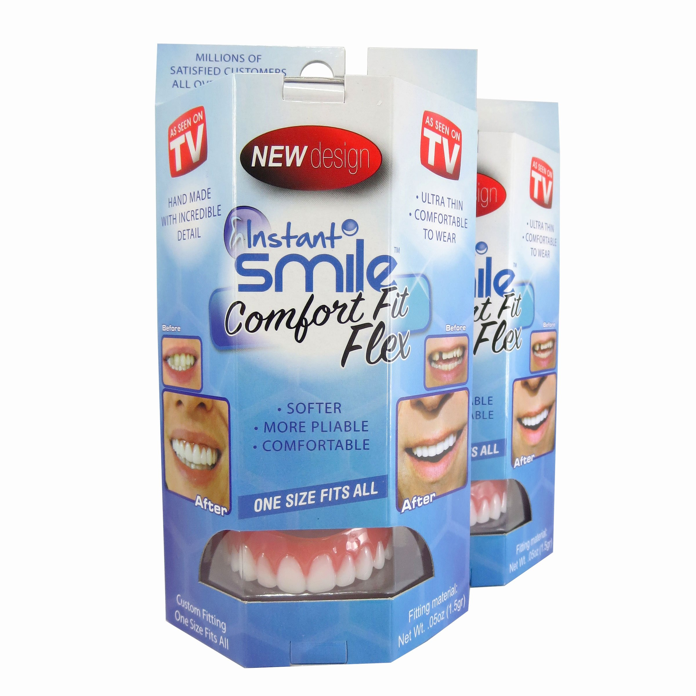 Instant Smile Flex 2pk Now You Have A Spare For Yourself OR Give The 2nd Pair To A Friend! One Size Fits Most. Fix Your Smile At Home In Minutes! Comfortable Upper Cosmetic Veneer For A Perfect Smile!