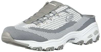 e5f2390ea2d76 Skechers D Lites A New Leaf Womens Slip On Sneaker Clogs Gray White 5.5