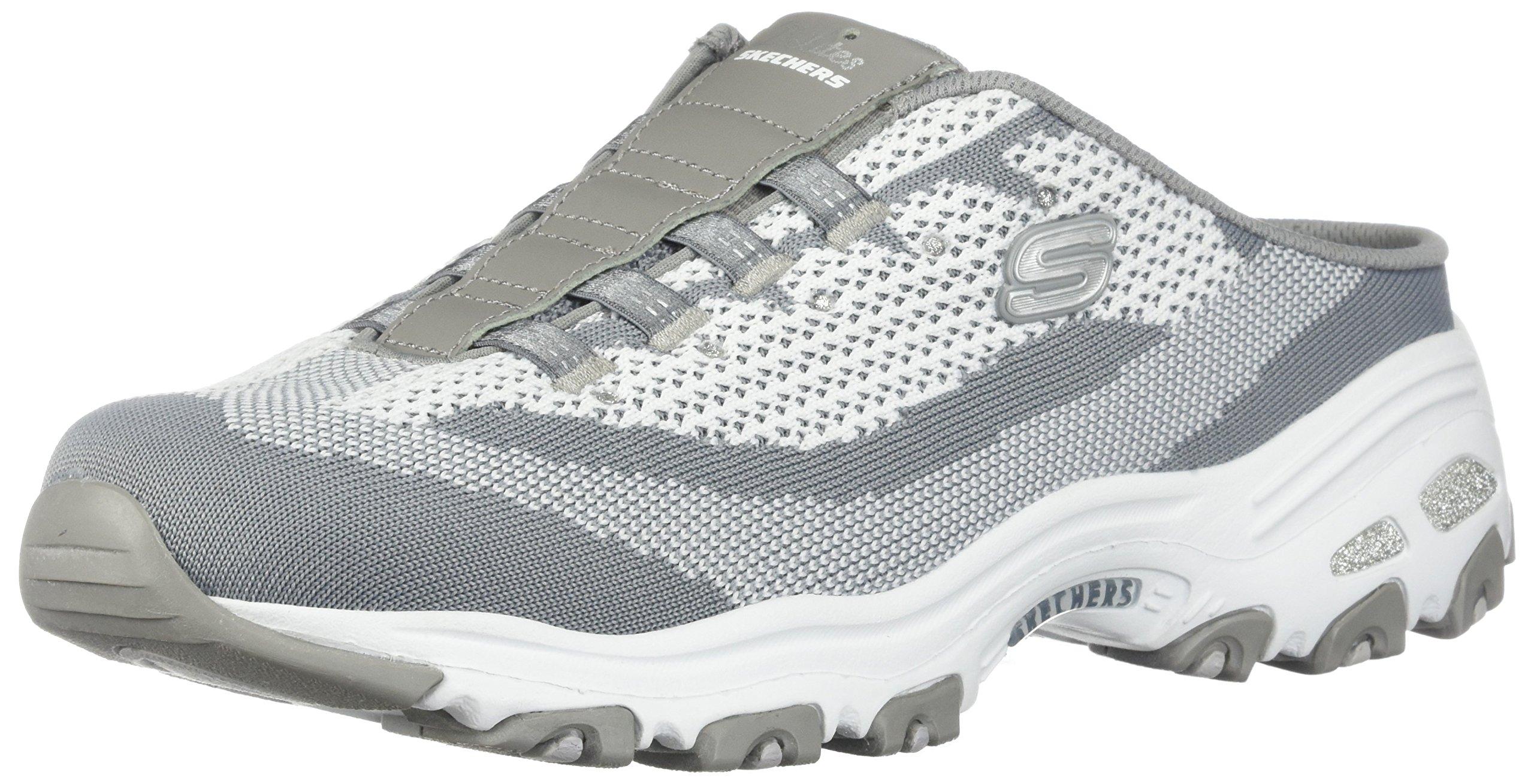 Skechers D'Lites A New Leaf Womens Slip On Sneaker Clogs Gray/White 7