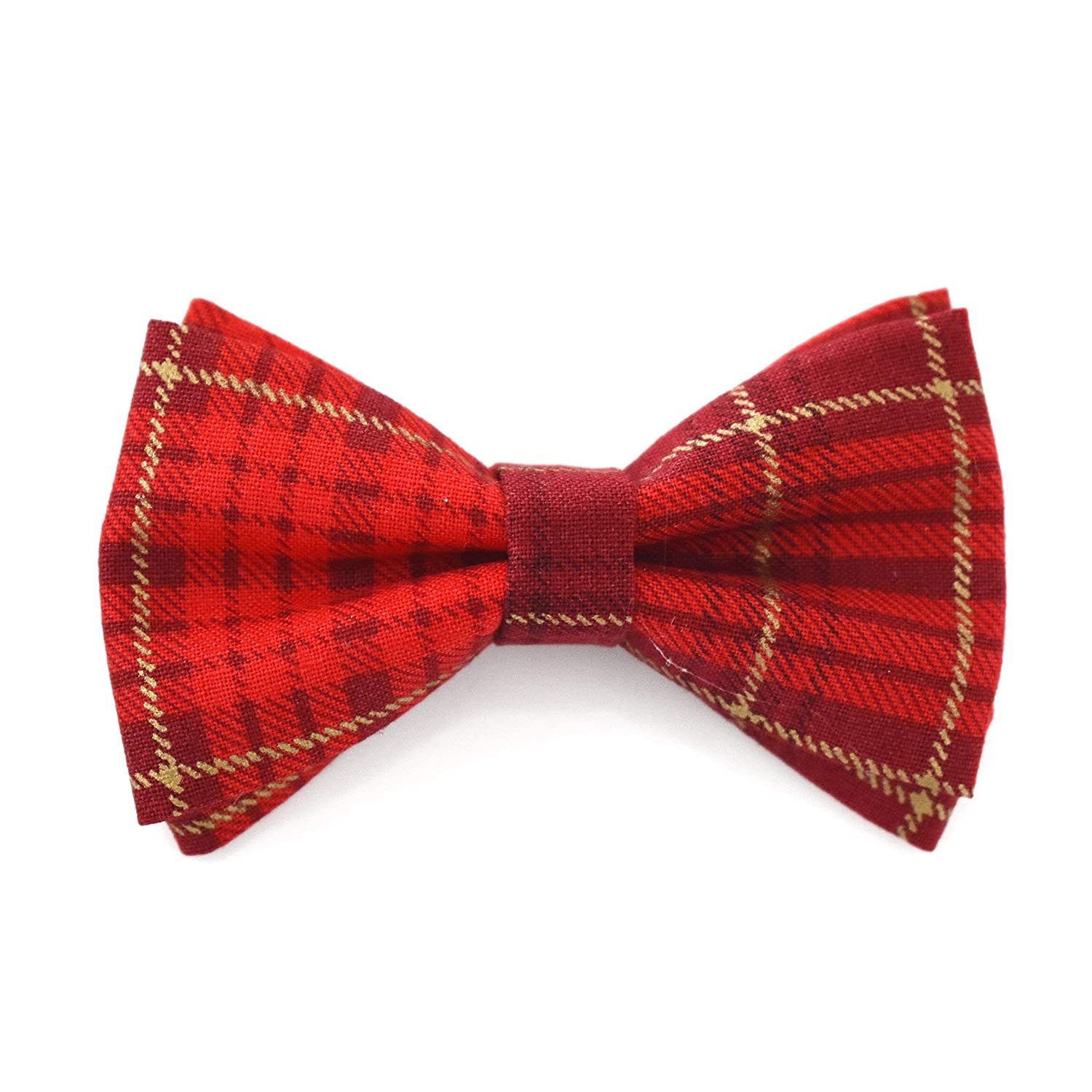 Red Gold Plaid Tartan Bow Tie Clip On Fits Baby Toddler Boy Handmade (One Size Fits All) Holiday Bow Tie - by Blossom Design