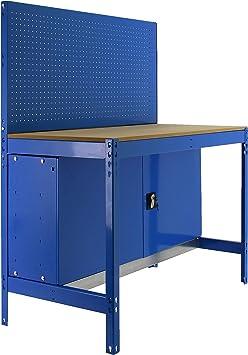 Banco de trabajo con ruedas y armario BT2 1 estantes Azul ...