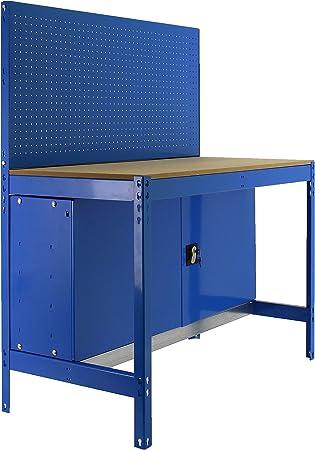 Banco de trabajo BT2 con armario Simonwork Azul/Madera Simonrack ...