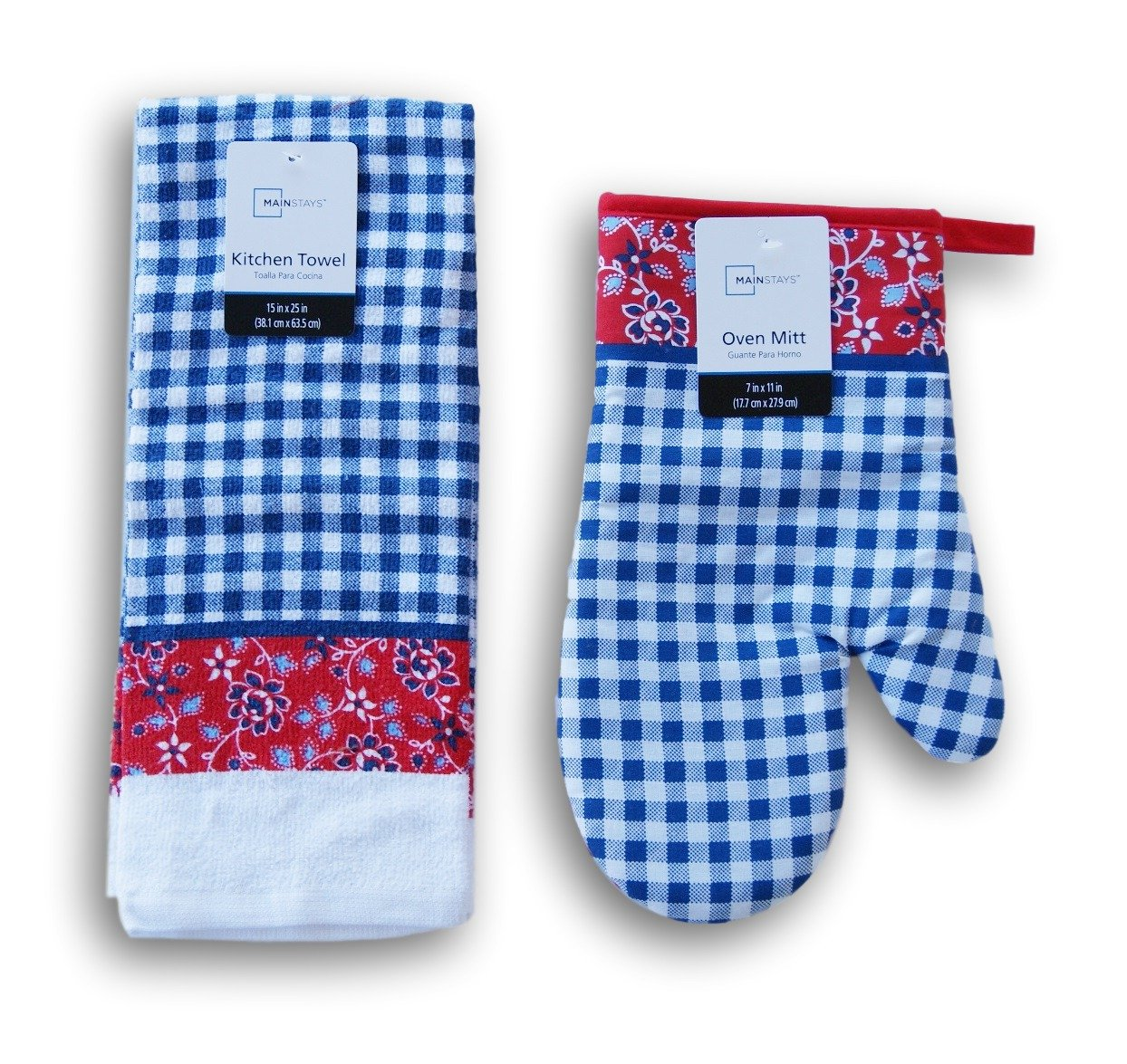Summer Blue Check Patterned Kitchen Set - Oven Mitt and Dish Towel