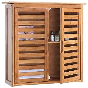 Armario Narita, baño Estantería baño armario para colgar, con compartimento, bambú 60 x 60 x 20 cm: Amazon.es: Juguetes y juegos