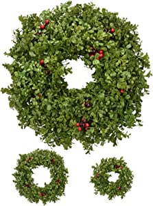 RED DECO Christmas Wreaths for Front Door 20 + 16 Inch, Artificial Green Boxwood Berry Indoor Outside Wreath for Decorating Christmas Holiday Home Farmhouse Wall Decor