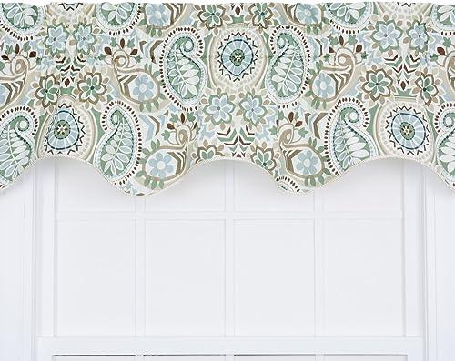 BanKhok Ellis Curtain Paisley Prism Jacobean Floral Print Lined Duchess Filler Valance, 50 by 15-Inch, Latte