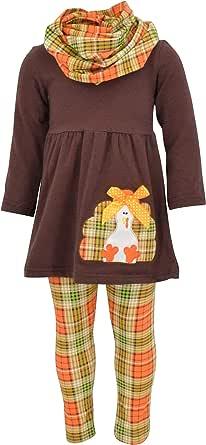 Unique Baby Girls 3 Piece Turkey Fall Colors Thanksgiving Legging Set