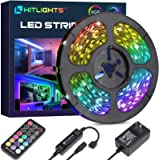HitLights LED Strip Lights, 32.8ft RGB Color Changing LED Tape Lights 5050 300LEDs Flexible Light Strips with RF Remote…