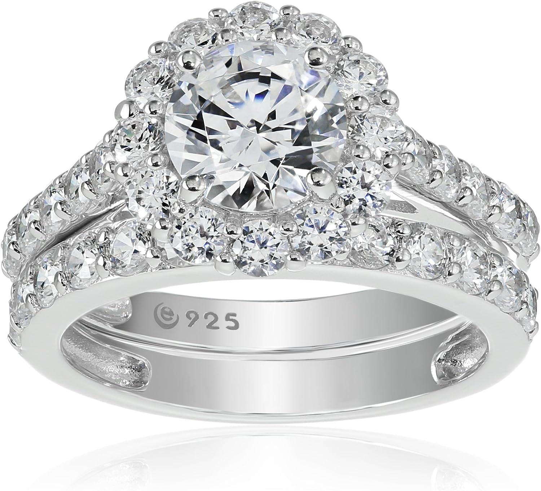 Halo Ring Sterling-Silber 925 platiniert Swarovski-Kristalle Blume