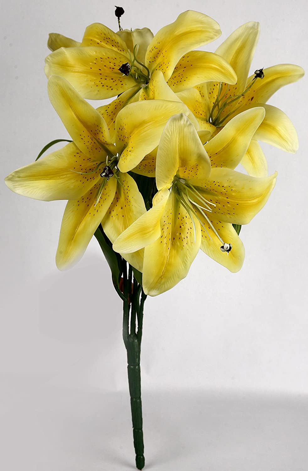 Buy uberlyfe real touch and look 5 artificial flower tiger lily sun buy uberlyfe real touch and look 5 artificial flower tiger lily sun kissed yellow 4 bunches online at low prices in india amazon izmirmasajfo