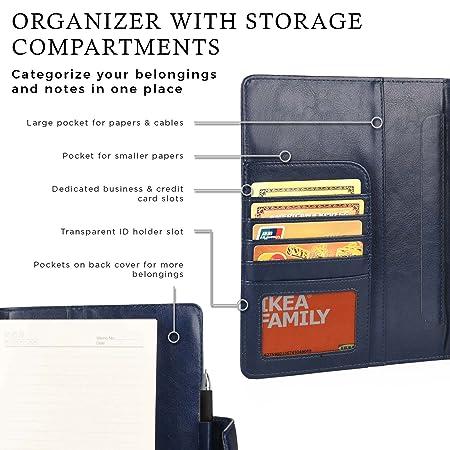 Funda para 7-8 tabletas con Cuaderno, Cooper FOLDERTAB Carcasa Tipo Cartera con planificador, libreta y Bolsillos para Zurdos y diestros (Azul): ...