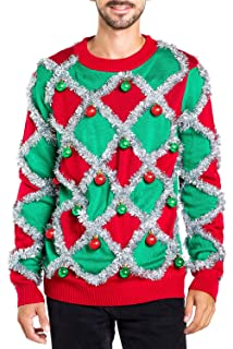 Tipsy Elves Mens Ugly Christmas Sweater Funny Green Sweater At