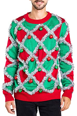 Tacky Christmas Sweater.Men S Ornament And Garland Ugly Christmas Sweater Green And Red Funny Tacky Tinsel Christmas Sweater