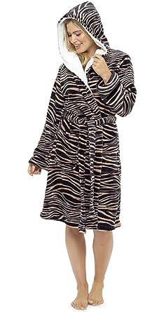 Foxbury Ladies Animal Print Hooded Dressing Gown Robe Tiger Print 16 ... 2565133ec