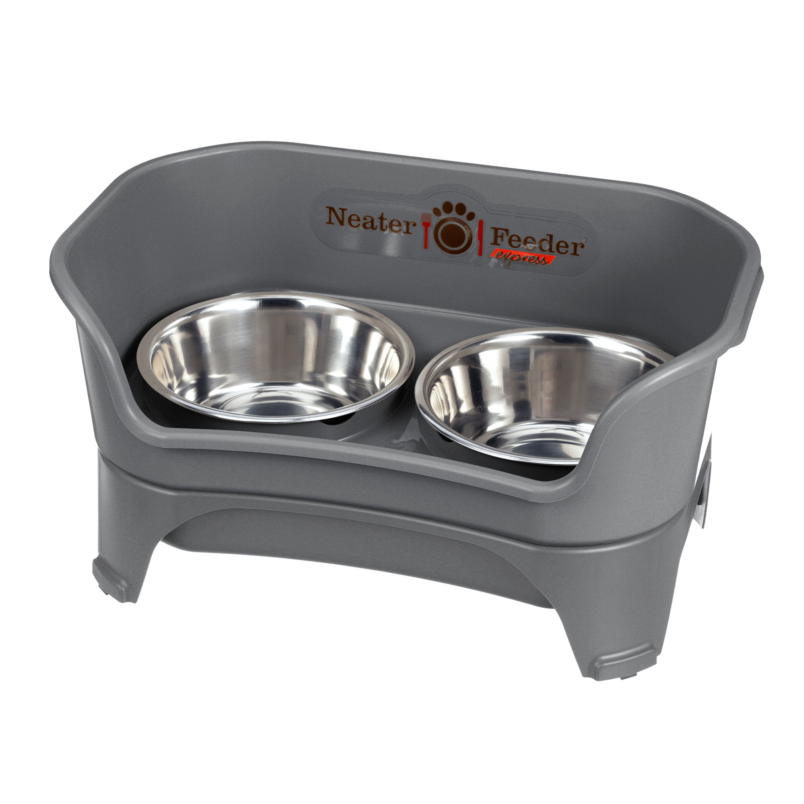 Neater Feeder Express (Medium to Large Dog, Gunmetal) - with Stainless Steel, Drip Proof, No Tip and Non Slip Dog Bowls and Mess Proof Pet Feeder by Neater Feeder