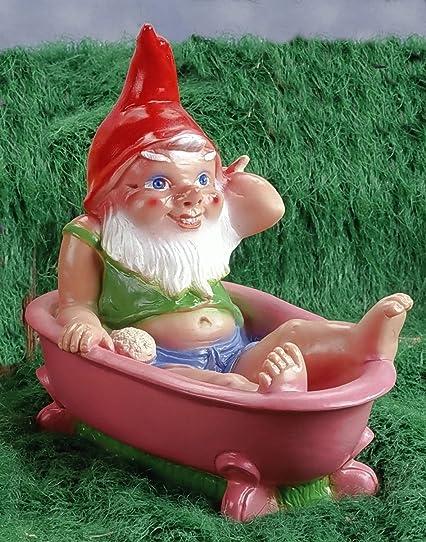 Nain avec une baignoire, 32 cm, Nain de jardin en plastique ...