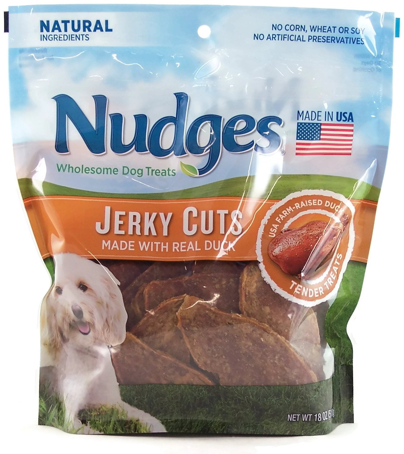Nudges Dog Treats Duck Jerky Cuts 18 Ounces by Nudges