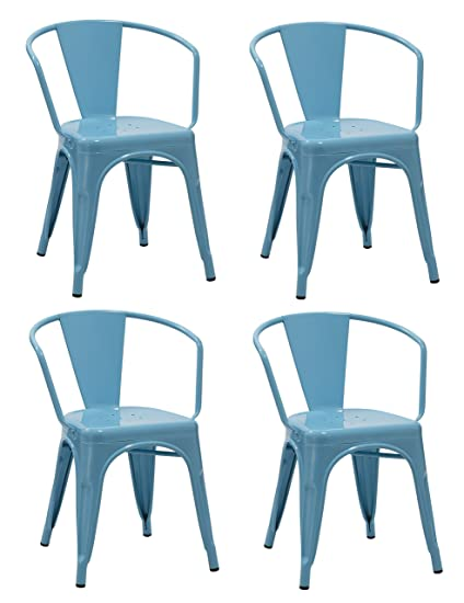 Duhome 4 PCS Metal Dining Chair With Armrest Stackable Industrial Style  Restaurant Bistro Patio (Blue