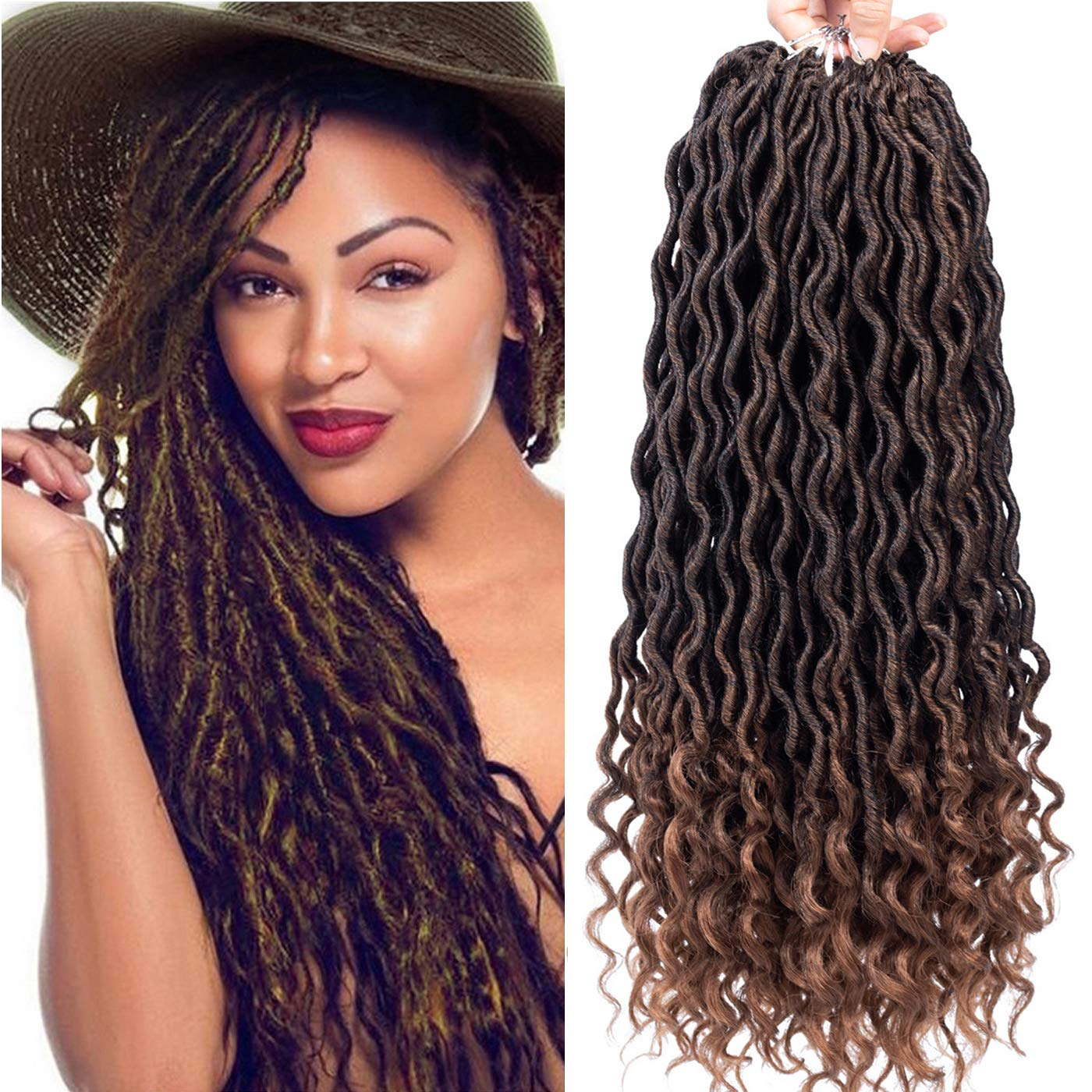 Karida Faux Locs Crochet Hair Deep Wave Braiding Hair With Curly Ends Crochet Goddess Locs Synthetic Braids Hair Extensions (18''-3bundles, T1B-30)