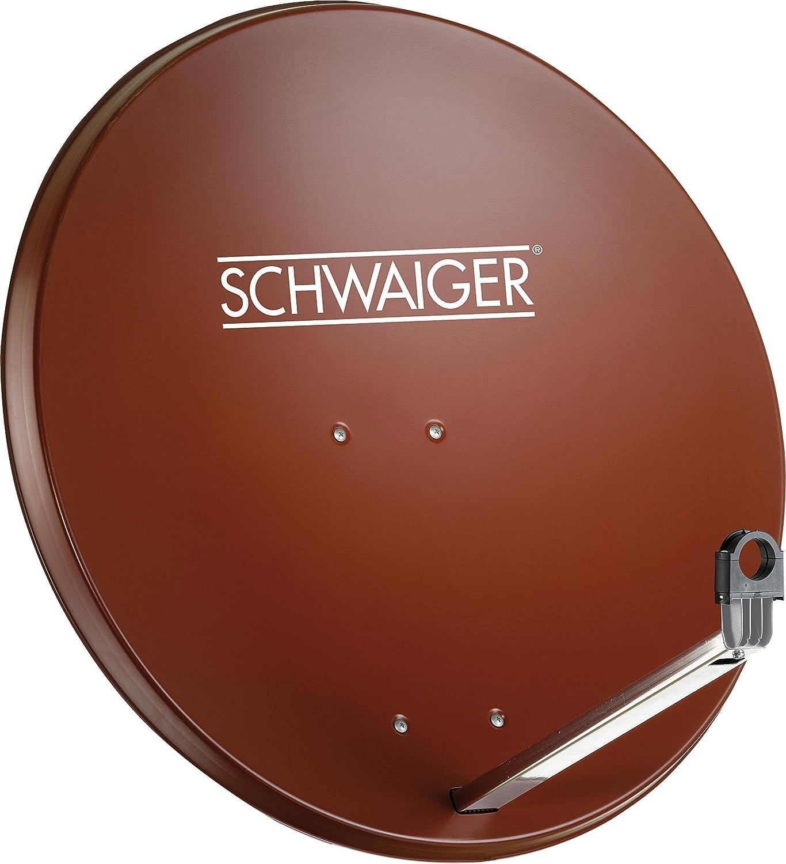 SCHWAIGER -203- Antena satelital | antena satelital con brazo de soporte LNB y montaje en mástil | antena satelital de aluminio | 75 x 85 cm