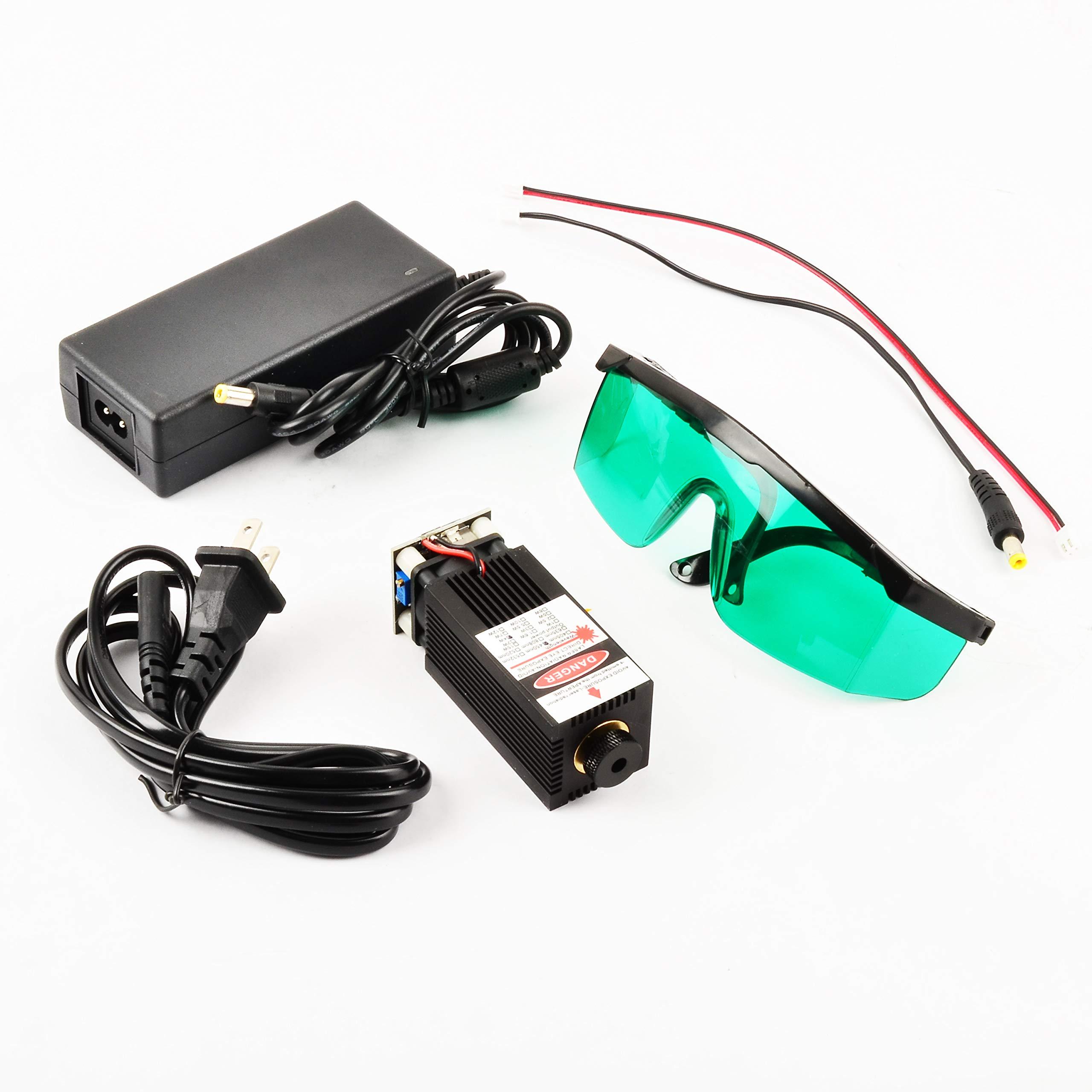 Ensfouy Blue Laser Module 405nm/450nm 500mW 2500mW 5000mW 5500mW Laser Head + Heatsink Cooling Fan DIY Focusing Laser Cutter CNC (500mW)