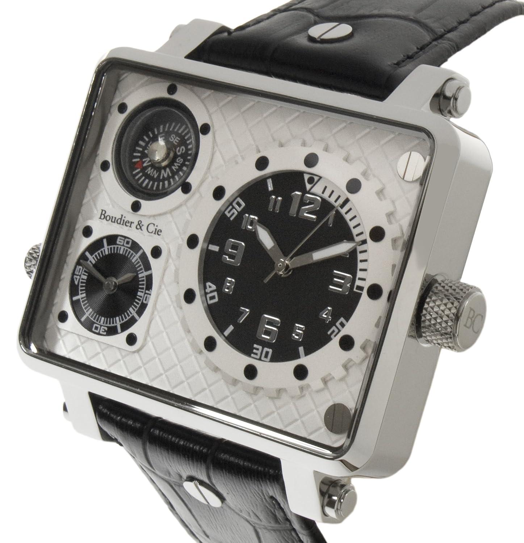 Boudier & Cie Herren Metropolitain Kingsize Collection Quarz Armbanduhr mit zwei Zeitzonen und eckigem GehÄuse -