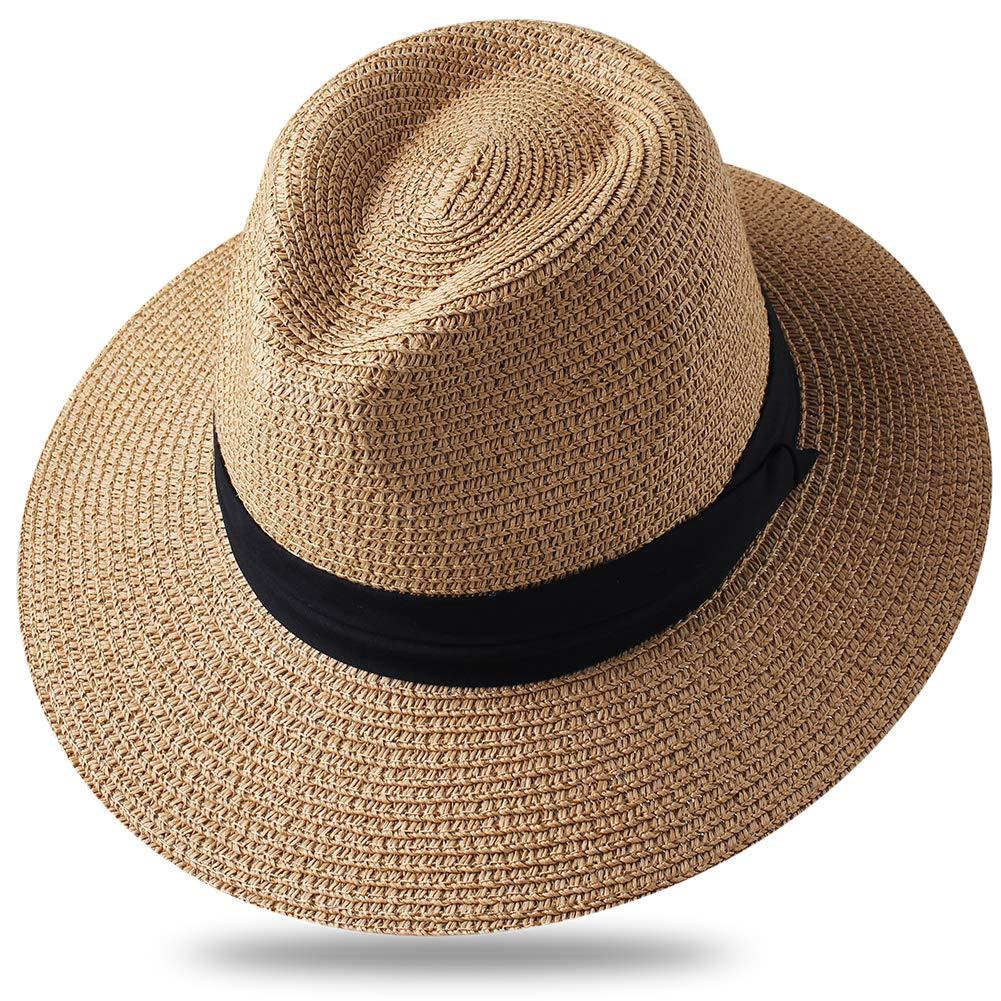 Dark Khaki Panama Roll up Hat Fedora Beach Sun Hat UPF50+ Braid Straw Short Brim Jazz Panama Cap for Women Men