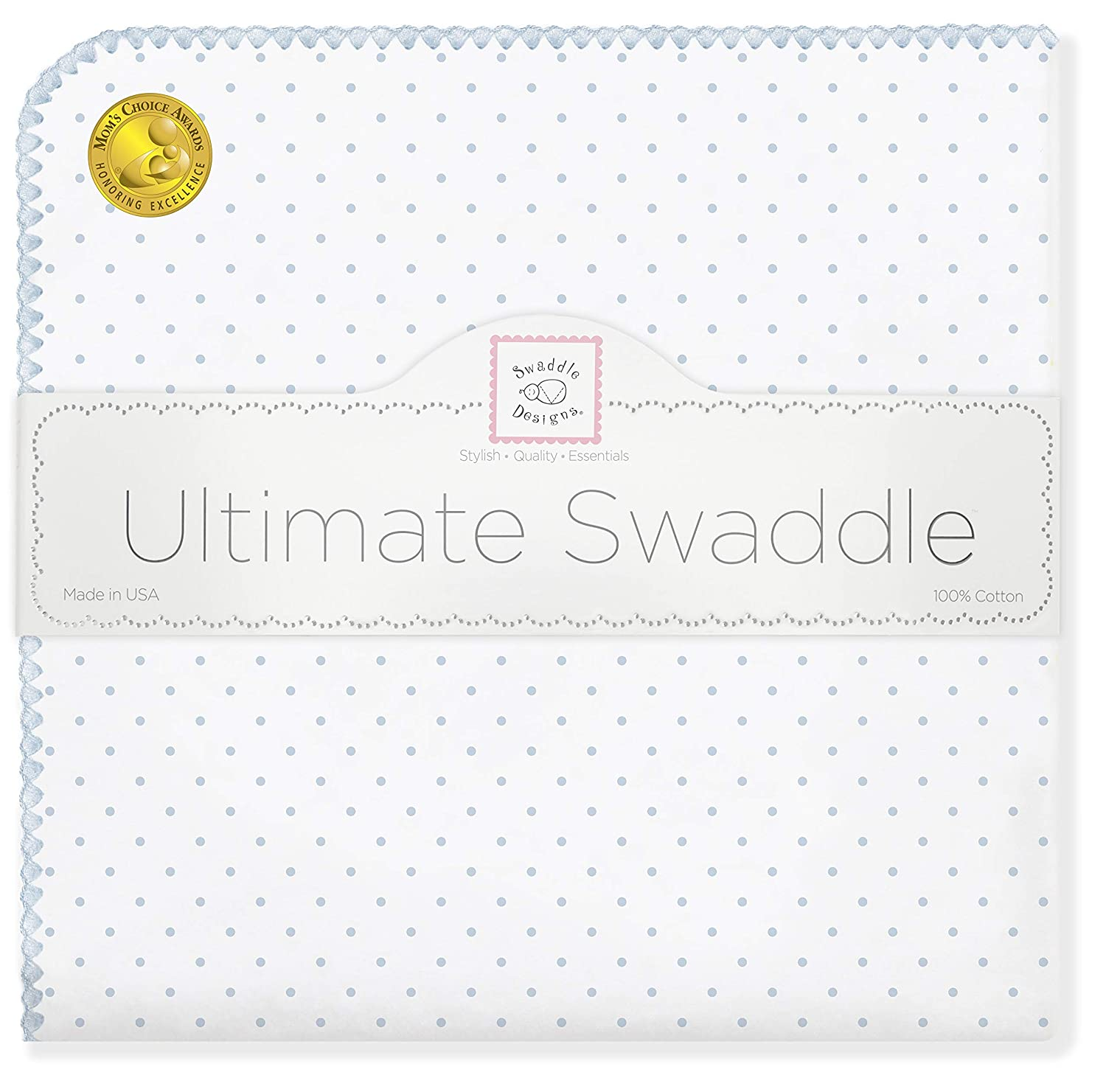 B000A7S51Y SwaddleDesigns Ultimate Swaddle, X-Large Receiving Blanket, Made in USA, Premium Cotton Flannel, Pastel Blue Classic Polka Dots (Mom's Choice Award Winner) 81loa8IBcWL