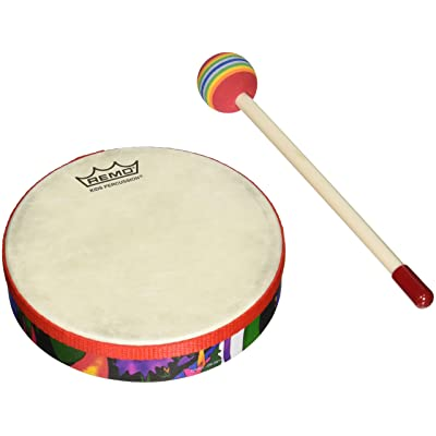 "REMO Drum, KIDS PERCUSSION, Hand Drum, 6"" Diameter, 1.25\"" Depth, Fabric Rain Forest: Musical Instruments [5Bkhe0501585]"