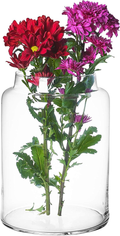 URBNLIVING - Jarrón cilíndrico de Cristal Transparente Grande o con Forma de Botella para Flores, acuarios o Pantallas Decorativas, Large Cylinder