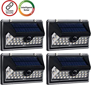Westinghouse Wireless Linkable Intelligent Solar Motion Sensor Lights Outdoor, 120° Wider Angle Illumination, 29 LED 800 Lumens Security Wall Lights for Front Door, Yard, Fence Patio (4pk)