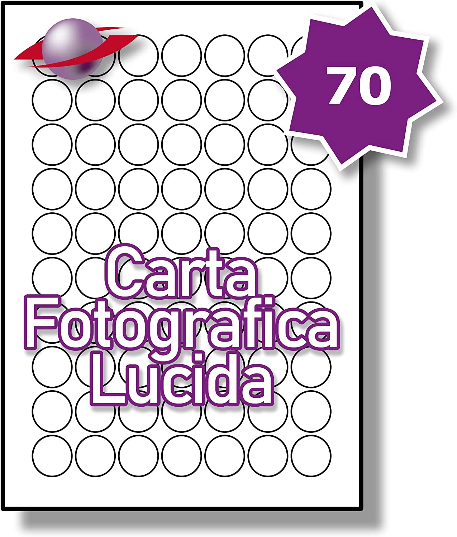 5 Fogli 350 Etichette 70 Par Foglio Label Planet/® Carta Fotografica Bianca Lucida Rotonda per Stampanti a Getto dInchiostro e Laser 25mm Diametro LP70//25 R GWPQ.