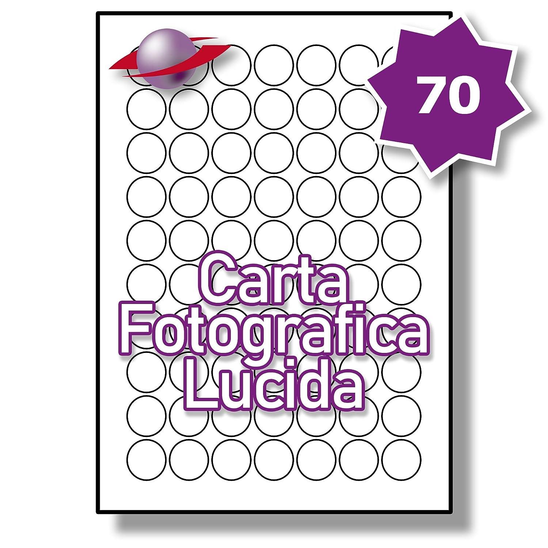 70 Par Foglio, 5 Fogli, 350 Etichette. Label Planet® Carta Fotografica Bianca Lucida Rotonda per Stampanti a Getto d'Inchiostro e Laser 25mm Diametro , LP70/25 R GWPQ.