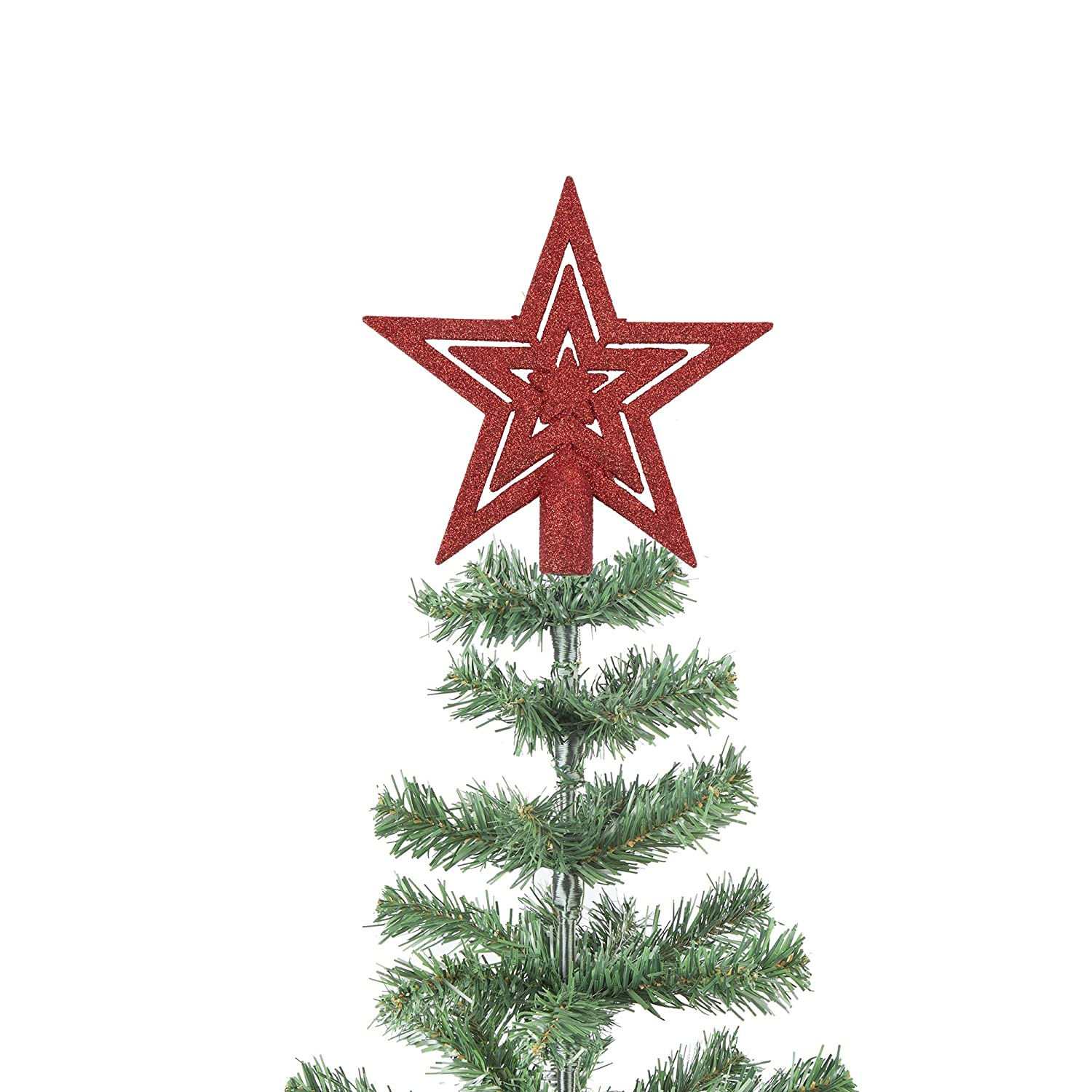 20cm Glitter Star Christmas Tree Topper Decoration Ornament (Gold) Robelli