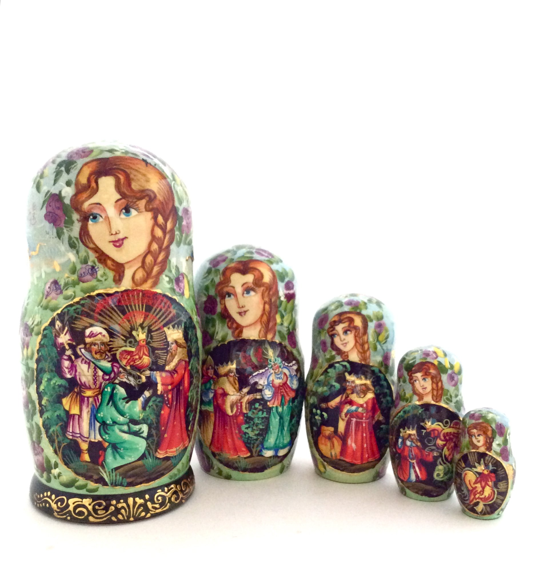 Unique Russian Nesting dolls Fairytale ''The Golden Cockerel'' Hand Carved Hand Painted 5 piece set 7'' Tall