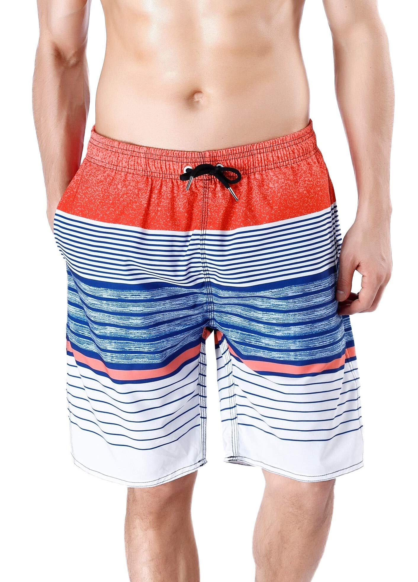 QRANSS Men's Quick Dry Swim Trunks Bathing Suit Striped Shorts with Pockets (Medium / 34-36 Inches, Pink&Blue) by QRANSS