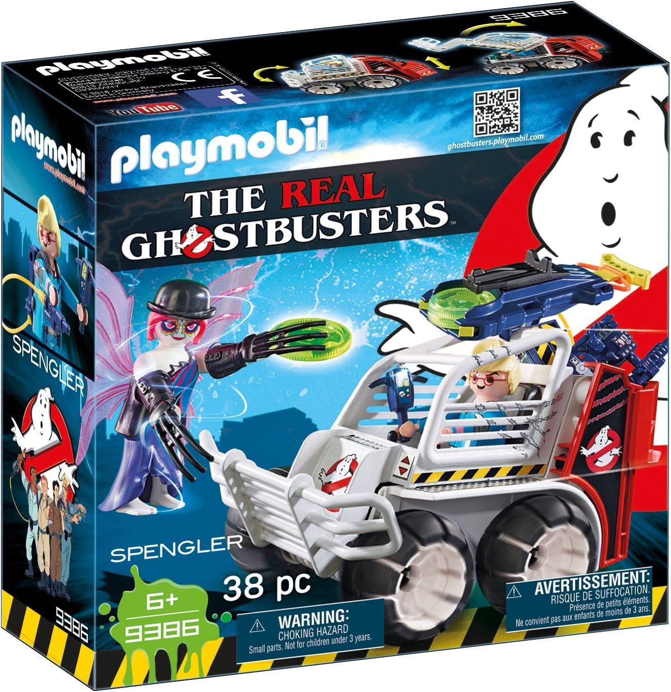 PLAYMOBIL Ghostbusters Spengler con Coche Jaula y Lanzador de Discos, a Partir de 6 Años (9386)